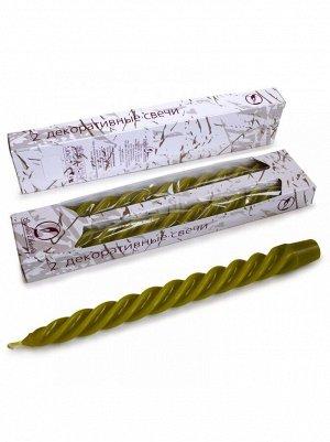 Свеча витая набор 2 шт цвет оливковый