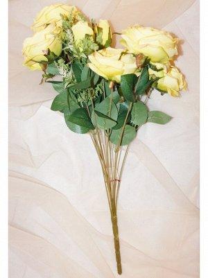 Букет роз пионовидных 12цв. желтый