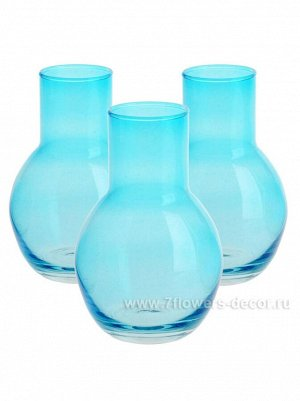 Ваза стекло Кенди луковка D8 х H12.5 см набор 3 шт цвет голубой