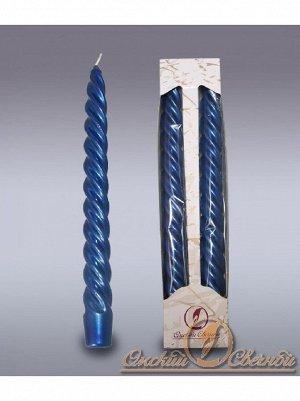 Свеча витая металлик набор 2 шт цвет синий