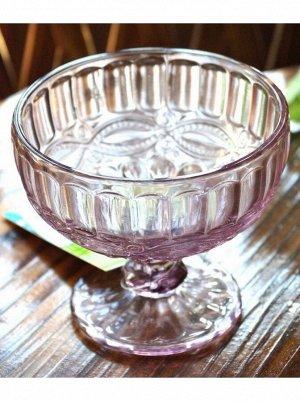Конфетница на ножке 10 х 12 см стекло розовый
