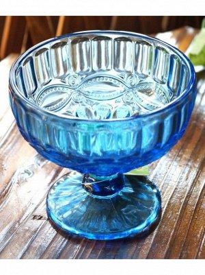 Конфетница на ножке 10 х 12 см стекло синий кобальт