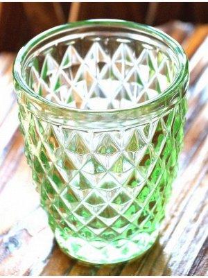 Стакан многогранник 9;5 х 8 см стекло зеленый