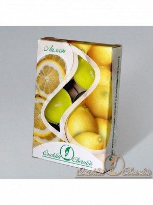Свеча чайная 12 гр х 6 шт Лимон ароматизированная