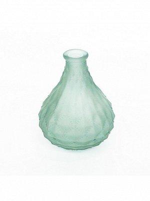 Ваза стекло малая грушевидная h=13 см d=3/6 см прозрачный/матовый цвет зеленый HS-40-7