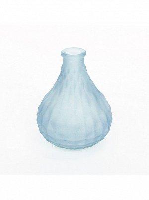 Ваза стекло малая грушевидная h=13 см d=3/6 см прозрачный/матовый цвет синийHS-40-7