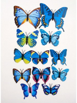 Бабочка на магните набор 12 шт пластик цвет МИКС HS-18-19