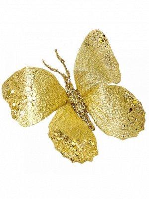 Бабочка на прищепке золотая