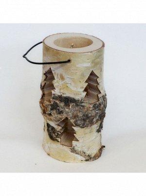 Подсвечник из дерева и стекла с елочками 8-10 х 16 см