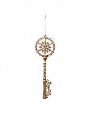 Подвеска Ключ с глиттером 19 см золото  AR1621MPGL