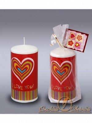 Пенек Люблю с открыткой свеча