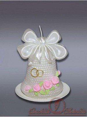 Свеча Колокольчик жемчужный с розами хамелеон