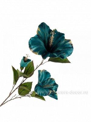 Гибискус цветок искусственный 89см бирюзовый