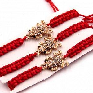Браслет Gold красная нить с Жабой богатства уп-3шт металл стразы текстиль