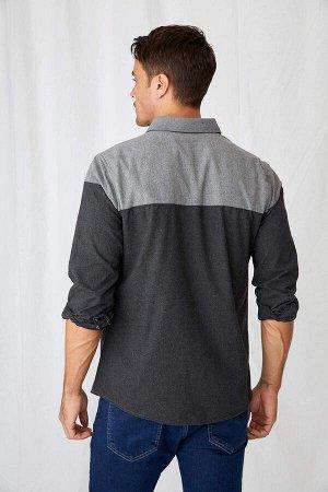 рубашка Размеры модели: рост: 1,89 грудь: 97 талия: 78 бедра: 95 Надет размер: M  Полиэстер 50%, Хлопок 50%