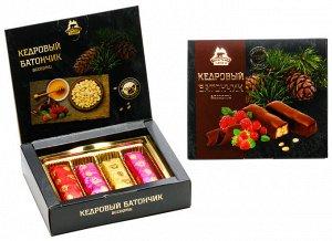 Кедровый батончик в натуральном шоколаде ассорти (классика/земляника/малина/клюква) в коробке 80г НОВИНКА!!!