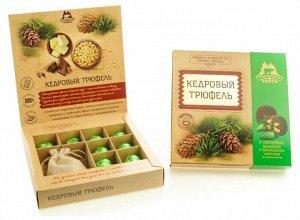 Кедровый трюфель в натуральном шоколаде с сосновой шишкой коробка 80г
