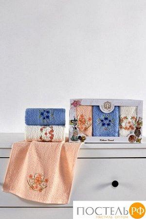 Набор махровых салфеток Diva Afrodita Цветы 3 пр (30х50) 100% хлопок