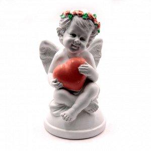 Фигурка Ангелочек с сердечком дарует защиту семейных отношений 14,5см-8см 416гр ХРУПКОЕ