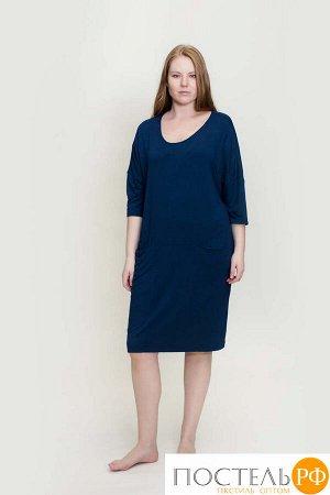 180005 Платье-туника рукав 3/4 с карманами,вс синий 54/3XL