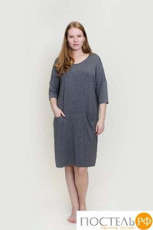 180005 Платье-туника рукав 3/4 с карманами,вс серый 54/3XL