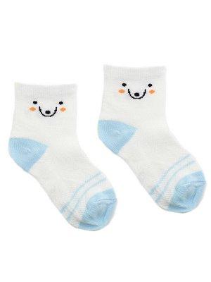 """Детские носки 6-8 лет 19-22 см """"Голубой миша"""" Белые с рожицей"""