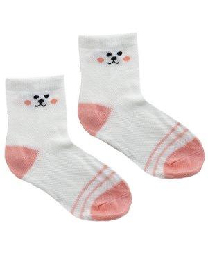 """Детские носки 6-8 лет 19-22 см  """"Розовый зая"""" Белые с рожицей"""