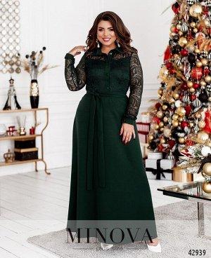 Платье №8628-темно-зеленый