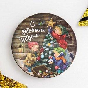 """Магнит дерево """"С Новым годом"""" круг 7,5х7,5 см"""