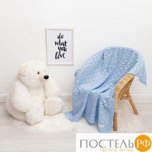 "Вязаный плед ""Крошка Я"" Бэби, размер 90х90 см, голубой 4937536"