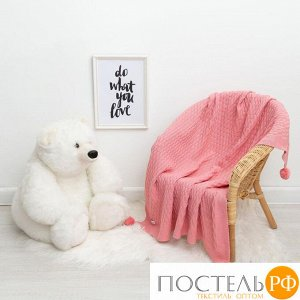 """Вязаный плед """"Крошка Я"""" Рисунок кубик, 90х90 см, розовый 4937549"""