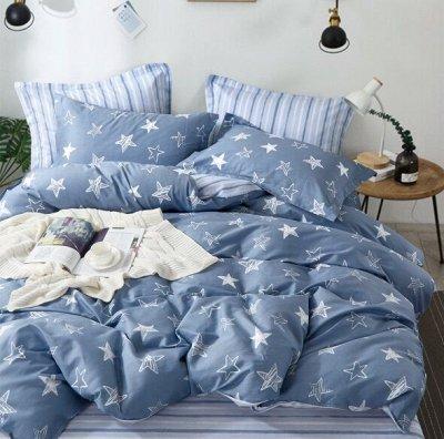 КПБ Сатин, Трикотажные простыни на резинке — Сатин 2 спальное с европростыней — Постельное белье