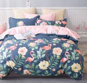 Комплект постельного белья из сатина 2 спальный с простыней на резинке