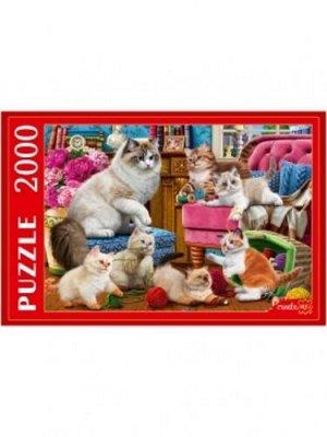 Пазлы 2000 Кошка с пушистыми котятами