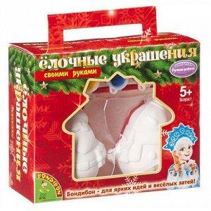 """Набор для творчества """"Bondibon"""" Дед Мороз 5,6*4,9*7,5 см ,Снеговик 6,5*5,1*7,5 см, в порад. уп."""