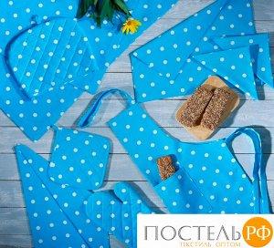 Набор кухонный «Горох голубой» Прихватка, Варежка, Чехол на чайник, Полотенце-2 шт