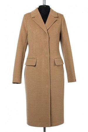 01-10217 Пальто женское демисезонное Пальтовая ткань Кэмел