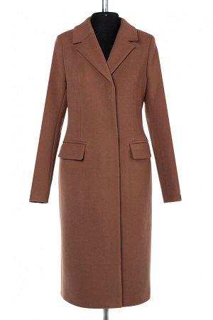 01-10216 Пальто женское демисезонное Пальтовая ткань светло-коричневый