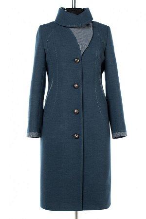 01-10213 Пальто женское демисезонное Пальтовая ткань морская волна