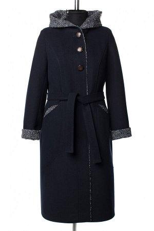 01-10204 Пальто женское демисезонное Пальтовая ткань темно-синий