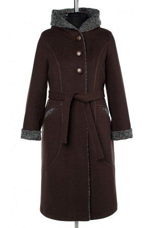 01-10203 Пальто женское демисезонное Пальтовая ткань темный шоколад