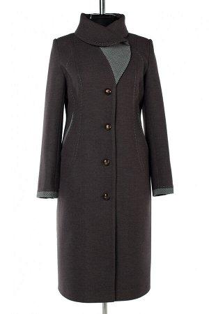 01-10197 Пальто женское демисезонное Пальтовая ткань серый