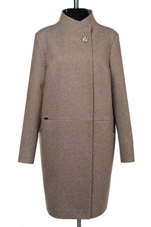 01-10138 Пальто женское демисезонное Микроворса/Рубчик темно-бежевый