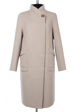 01-10187 Пальто женское демисезонное Пальтовая ткань светло-бежевый