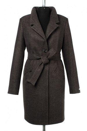02-2987 Пальто женское утепленное (пояс) валяная шерсть темно-серый
