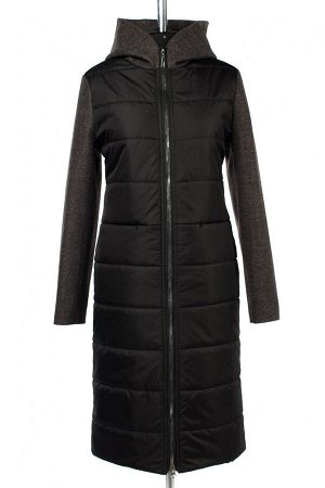 """02-2984 Пальто женское утепленное """"Amalgama"""" плащевка/валяная шерсть черно-серый"""