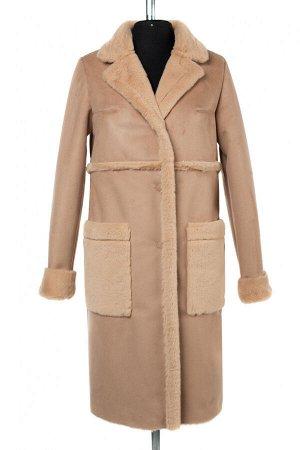 02-2978 Пальто женское утепленное Эко-дубленка бежевый