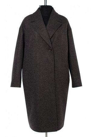02-2974 Пальто женское утепленное валяная шерсть темно-серый