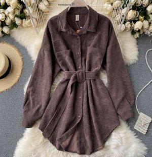 Вельветовая рубашка, темно-коричневый