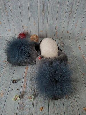 Тапочки женские с бубоном, натуральная овчина.